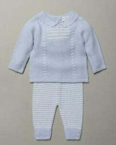 Baby boys Spanish style cable knitted 2 piece set blue 0-9 months