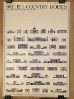 """1980's """"British Country Houses"""" Original Architectural Poster - Rolled 23"""" x 33"""""""