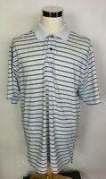 FootJoy FJ Men's White w/ Blue Stripes Short Sleeve Golf Polo Shirt Size L Large