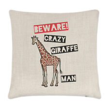 Beware Crazy Giraffe Man Linen Cushion Cover Pillow - Funny Zoo Safari