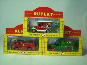 3x Lledo Die-cast THE RUPERT BEAR COLLECTION Vehicles Lorries MIB Lorry