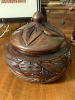 Vintage Hand Carved Dark Wood 7 in Round Lidded Trinket/Tobacco Box~Boho