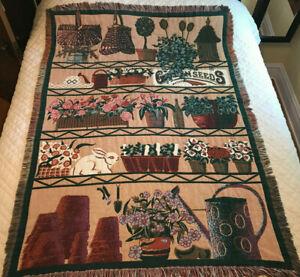 Vintage Goodwin Weavers Cotton Throw Blanket Baker's Rack ~ Plants ~ Garden