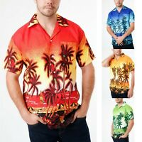 Mens Hawaiian Shirt Aloha Beach Party Surf Holiday Stag Dance Floral M-3XL