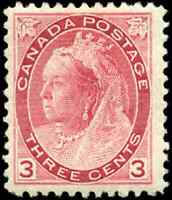 Canada #78 mint F-VF OG HR 1898 Queen Victoria 3c carmine Numeral Issue CV$90.00