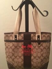 Coach Tote Bag Signature Khaki, Brown Coated Heritage Stripe