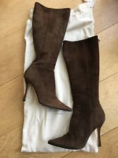 Jimmy Choo Knee High Brown Suede High Heel Boots Size 36 with original dust bag