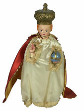 Vintage Chalkware INFANT OF PRAGUE Religious Figurine Hand Painted Jesus Statue