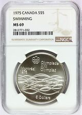 1975 Canada Montreal Olympics Swimming Silver $5 Coin - NGC MS 69 - KM# 100