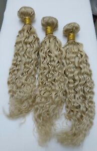 "141616"" 3 BUNDLE BRAZILIAN HUMAN HAIR #613 BLONDE WEFT WEAVE WATERWAVE UK VIRGIN"