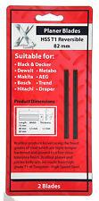 2 HSS Reversible 82mm PLANER BLADES Electric Power Tool Fits Bosch & DeWalt NEW