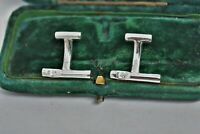 Vintage Mens Sterling Silver cufflinks with Art deco natural Diamonds #G701