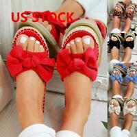 Women Slip On Sandals Bow Flat Mule Summer Sliders Espadrille Shoes Size US