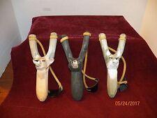 """3--NEW HAND CARVED WOODEN ANIMAL FACE DESIGN SLINGSHOTS -- """"WOLF, DEER & BEAR"""