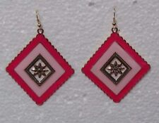 Diagonal Square Two Tone Pink Enameled Gold Lightweight Drop Wire Earrings