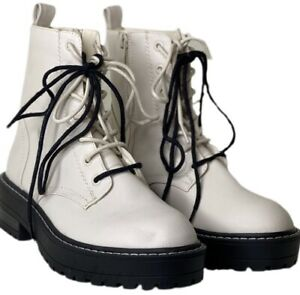 Dr Martens Woman's Double Lace Boots Stradivarius New Off white Eggshell Docs