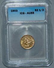 1903 GOLD $2.5 Liberty HEAD QUARTER EAGLE, ICG AU55 ~ Beautiful Coin!