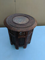 Brass inlaid anglo indian octagonal side table with decorative carving MZ230819J