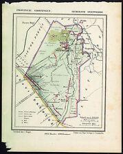 ANTIQUE MAP-NETHERLANDS-ONSTWEDDE-GRONINGEN-KUYPER-1865