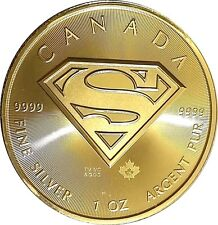24k Gold Gilded   2016 Canadian Superman  .9999 pure Silver Coin  F