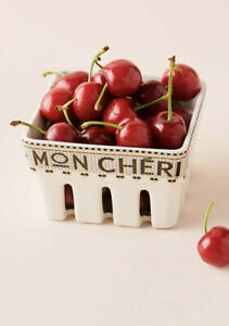 Anthropologie Bistro MON CHERI Cherry Berry Tile Bistro Basket NEW HTF SOLD OUT