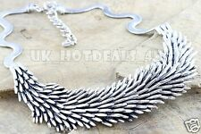 Chunky Boho Statement Layered Silver Leaf Feather Classic DESIGNER Necklace Style 1 Gift Bag