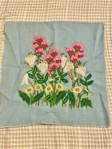 "Vintage Crewel Yarn Art Flowers Unframed Embroidery. Beautiful Colors 13x14"""