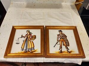 Ceramic Tile Art Frame Stone Backing Set of two Decorative Hanging 9 1/2 x 9 1/2