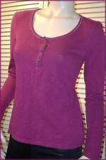 ROUTE 66 Boysenberry Purple Long Sleeve Knit Henley Top (S) 100% Cotton