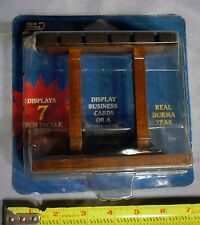 Tech Tackle 7 Rod Real Burma Teak Desktop Business Card / Photo Display Rack