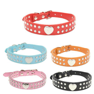 Bling Rhinestone Pet Dog Collar Peach Heart Studded Puppy Cat Leather Necklace