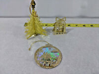 Vintage Lot of 3 Gold Plated Brass Christmas 3-D Ornaments Tree, Wisemen & Bell