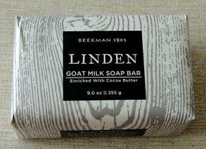BEEKMAN 1802 GOAT MILK SOAP Large 9 oz. Size, LINDEN, w/Coca Butter