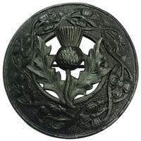 "TC Scottish Kilt Fly Plaid Brooch Thistle Crest Black/Fly Plaid Brooch Black 3"""