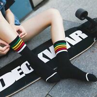 New Women Girl Cotton Fashion Sport Striped High Socks Hosiery Casual Stockings