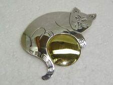 CAT WITH BALL PIN/ BROOCH IN STERLING SILVER  N114-I