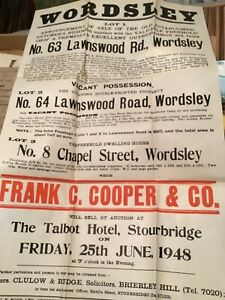 Large Unused sales poster Wordsley near Stourbridge the in Talbot hotel 1948