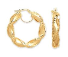 9ct Yellow Gold Round Twisted Diamond-Cut Tube Thick Creole 30mm Hoops Earrings