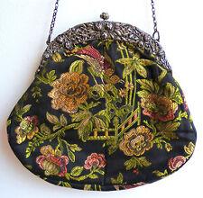 Jugendstil Antike Austria Silber 800 Gobelin Handtasche Abendtasche um 1910