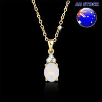Lovely Wholesale 18K Gold Filled Clear Zircon Crystal Oval Opal Necklace Gift