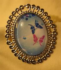 Lovely Swirl Rim Silvertn Blue Rose Butterflies in Flight Glass Cameo Brooch Pin