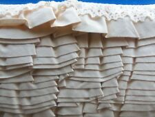 """VINTAGE 2"""" WIDE GATHERED MUSLIN FABRIC WITH 1"""" CLOONEY LACE  ON TOP  5 YARDS"""