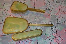 Vintage Vanity set ~ Mirror ~ hairbrush ~ shoe brush ~ Green marbled look