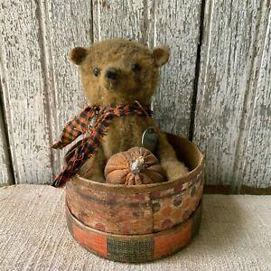 "Primitive Small Teddy Bear Grungy 5"" Hand Stitched In A Paper Mache Box Pumpkin"