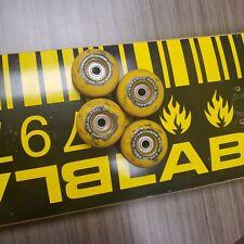 "Blacklabel Skateboard Deck 7.5"" Barcode Vintage Blk/Yellow & Blklbl 52mm Wheels!"