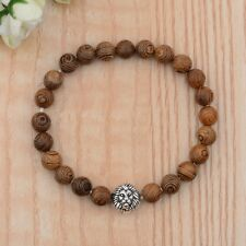 Men's Fashion Silver Lion Wooden Beads Elastic Cuff Bracelets Jewelry Xmas Gift