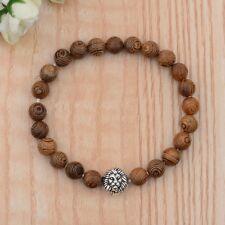 Men's Fashion Silver Lion Wooden Beads Elastic Cuff Bracelets Jewelry Xmas Gift