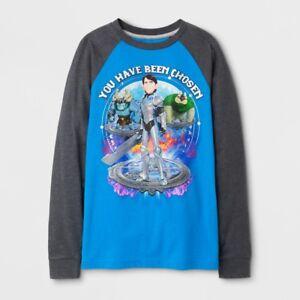 Trollhunters Boys Long Sleeve Turquoise/Gray T-Shirt 4-5, 6-7, 7-8, 10-12, 14-16