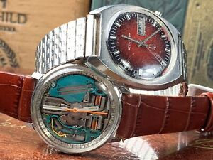 1966 BULOVA ACCUTRON WATCH LOT SPACEVIEW RUNS &STOPS 1971 218 Only2nd Hand Moves