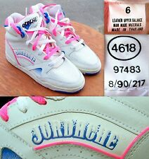 VINTAGE 1990 JORDACHE 4618 LEATHER HIGH TOP WOMEN SZ 6 SNEAKERS WHITE,PINK,BLUE